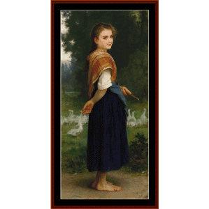 the goose girl - bouguereau cross stitch pattern by cross stitch collectibles