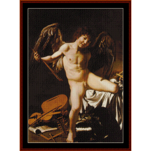amor victorious - caravaggio cross stitch pattern by cross stitch collectibles