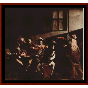 calling of st. matthew - caravaggio cross stitch pattern by cross stitch collectibles