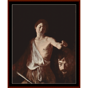 david with head of goliath - caravaggio cross stitch pattern by cross stitch collectibles