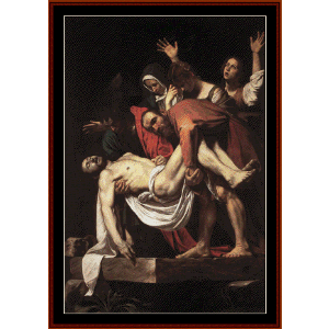 the entombment - caravaggio cross stitch pattern by cross stitch collectibles
