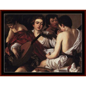 musicians - caravaggio cross stitch pattern by cross stitch collectibles