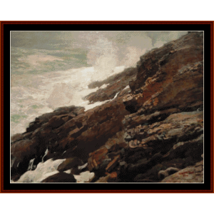 high cliff, coast of maine - w. homer cross stitch pattern by cross stitch collectibles