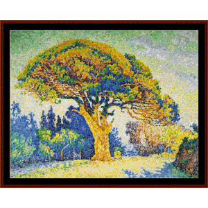 pine tree at st. tropez - signac cross stitch pattern by cross stitch collectibles
