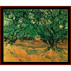 olive trees, 1889 - van gogh cross stitch pattern by cross stitch collectibles
