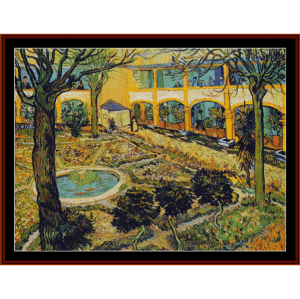 courtyard of the hospital - van gogh cross stitch pattern by cross stitch collectibles