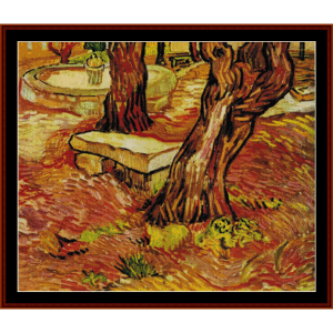 Stone Bench in the Garden - Van Gogh cross stitch pattern by Cross Stitch Collectibles | Crafting | Cross-Stitch | Wall Hangings
