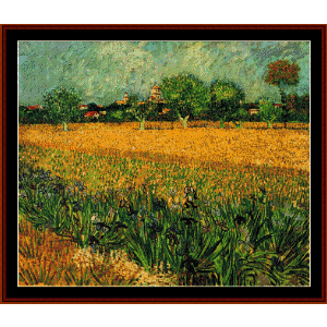 view of arles with irises - van gogh cross stitch pattern by cross stitch collectibles