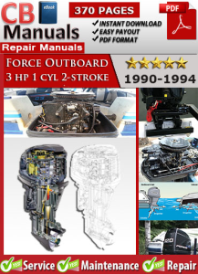force outboard 3 hp 3hp 1 cyl 2-stroke 1990-1994 service repair manual