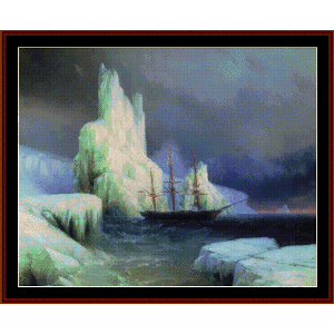 icebergs in the atlantic - aivazovsky cross stitch pattern by cross stitch collectibles