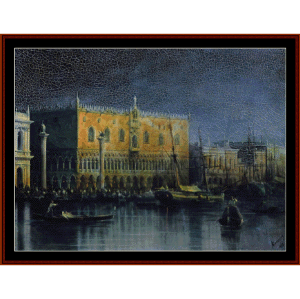 palace in venice by moonlight - aivazovsky cross stitch pattern by cross stitch collectibles
