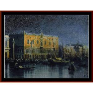 palace in venice by moonlight - aivazovsky cross stitch pattern by cross stitch collectibles