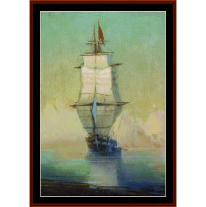 ship - aivazovsky cross stitch pattern by cross stitch collectibles