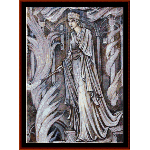 gudrun setting fire to palace - burne-jones cross stitch pattern by cross stitch collectibles