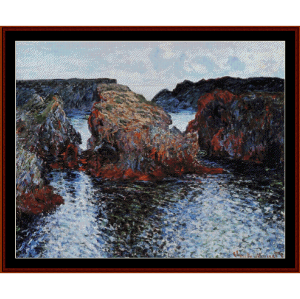 belle ile rocks at port goulpar - monet cross stitch pattern by cross stitch collectibles