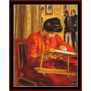 christine lerolle embroidering - renoir cross stitch pattern by cross stitch collectibles