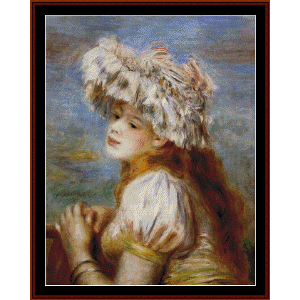 girl in a lace hat - renoir cross stitch pattern by cross stiitch collectibles