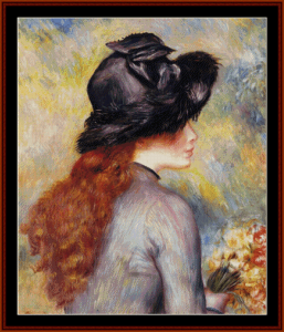 Young Girl Holding Tulips - Renoir cross stitch pattern by Cross Stitch Collectibles | Crafting | Cross-Stitch | Wall Hangings