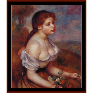 Young Girl with Daisies - Renoir cross stitch pattern by Cross Stitch Collectibles | Crafting | Cross-Stitch | Wall Hangings