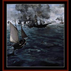 alabama and kearsage - civil war cross stitch pattern by cross stitch collectibles
