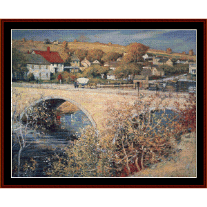 bridge at ipswich - t. wendel cross stitch pattern by cross stitch collectibles