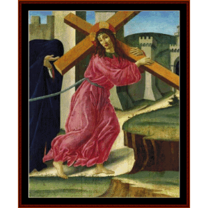 christ carrying the cross - botticelli cross stitch pattern by cross stitch collectibles