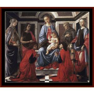 madonna & child w/six saints - botticelli cross stitch pattern by cross stitch collectibles
