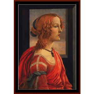 simonetta - botticelli cross stitch pattern by cross stitch collectibles