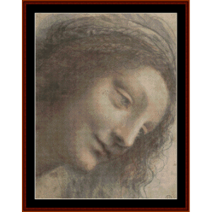 head of the virgin - davinci cross stitch pattern by cross stitch collectibles