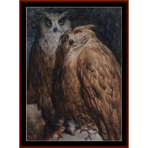 two owls - gustav dore cross stitch pattern by cross stitch collectibles