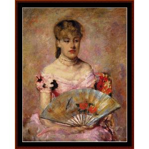 lady with a fan - cassat cross stitch pattern by cross stitch collectibles
