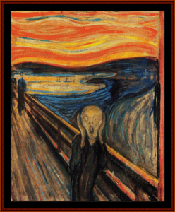 the scream - munch cross stitch pattern by cross stitch collectibles