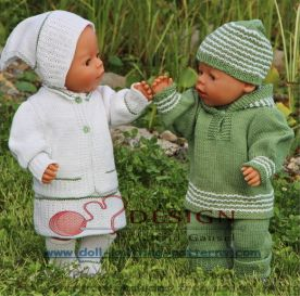 dollknittingpatterns -0116d mikkel/mille -suit, shoes, hat, sweater with a hood, summer dress for mille, pants, cardigan, headscarf, socks, summer suit in green (english)
