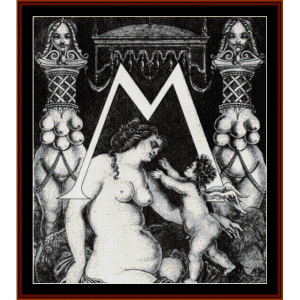 initial m for ben jonson - beardsley cross stitch pattern by cross stitch collectibles