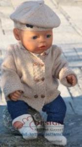 dollknittingpatterns-0115d elida -jakke, bluse, lue, strekk-bukse, skjerf og sko (norsk)
