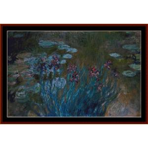 irises and waterlilies - monet cross stitch pattern by cross stitch collectibles