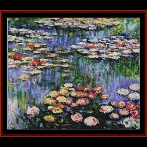 waterlilies iv - monet cross stitch pattern by cross stitch collectibles