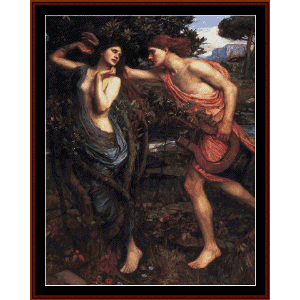 apollo and daphne - waterhouse cross stitch pattern by cross stitch collectibles