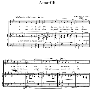 amarilli,, medium-high voice in g minor, g. caccini. for soprano, tenor. edited by horatio parker. j. church publ. (1912)