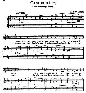 Caro mio ben Medium Voice in E Flat Major G. Giordani. For Soprano, Tenor. Song Classics, Edited by Horatio Parker. J. Church Publ. (1912) | eBooks | Sheet Music