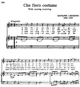 che fiero costume, high voice in a minor,  g. legrenzi. for soprano, tenor. song classics, edited by horatio parker. j. church publ. (1912)