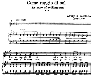 come raggio di sol, high voice in g minor, a. caldara. for soprano, tenor. song classics, edited by horatio parker. j. church publ. (1912)