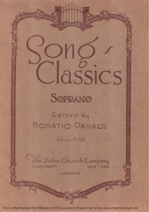 First Additional product image for - Le violette, Medium Voice in G Major, G. Giordani. For Soprano, Tenor. Song Classics, Edited by Horatio Parker. J. Church Publ. (1912)