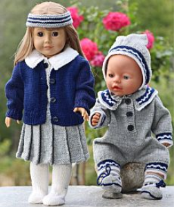 DollKnittingPatterns -0117D GRETE - Grete: Folded Skirt, Blouse, Pants, Cardigan, Socks and Hairband Grete's Sister: Suit, Hat and Socks (English) | Crafting | Knitting | Baby and Child