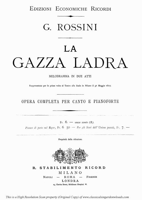 First Additional product image for - Di piacer mi balza il cor (Cavatina for Soprano). G. Rossini: La gazza ladra, Vocal Score. Ed. Ricordi, italian.(1876)