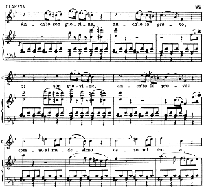 ma si puo dar pazzia...anch'io son giovine. recitative and aria for mezzo (clarina). g. rossini: la cambiale di matrimonio.. vocal score. ed. ricordi, 1910, italian.