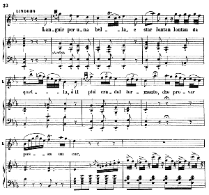 languir per una bella. aria for tenor (lindoro). g. rossini: l'italiana in algeri. vocal score. ed. ricordi, 1891, itlaian.