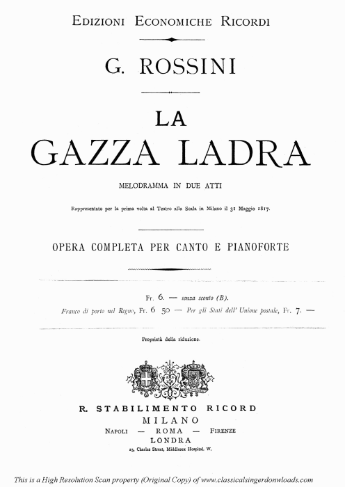 First Additional product image for - Accusata di furto. Aria for Bass (Fernando). G. Rossini: La gazza ladra (The thieving Magpie), Vocal Score. Ed. Ricordi. 1878 (PD). Italian.