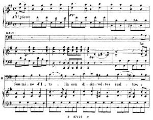 con tutta la sua boria...le femmine d'italia. recitative and aria for baritone  (haly). g. rossini: l'italiana in algeri, vocal score. ed. ricordi.1891. italian.