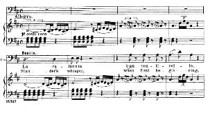 la calunnia è un venticello. aria for bass (basilio). g. rossini: il barbiere di siviglia (the barber of seville), vocal score. ed. schirmer. 1900 (pd). it-engl.